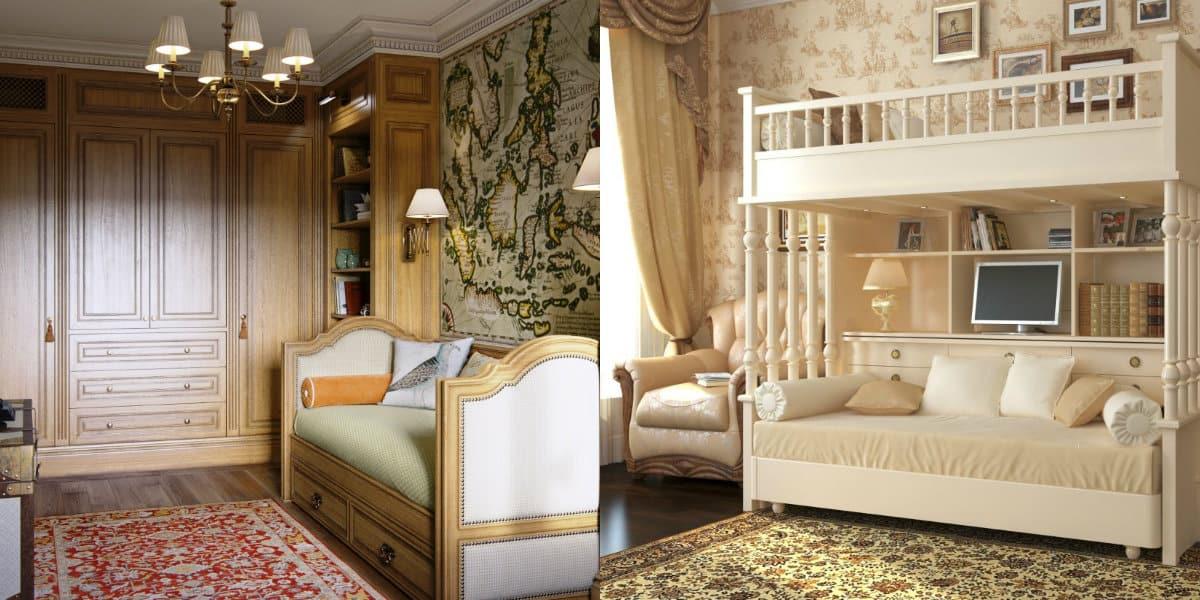 детская в английском стиле: кровать с рабочим местом