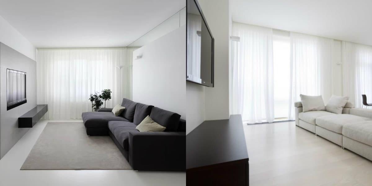 Дизайн квартиры в стиле Минимализм : полупрозрачные шторы