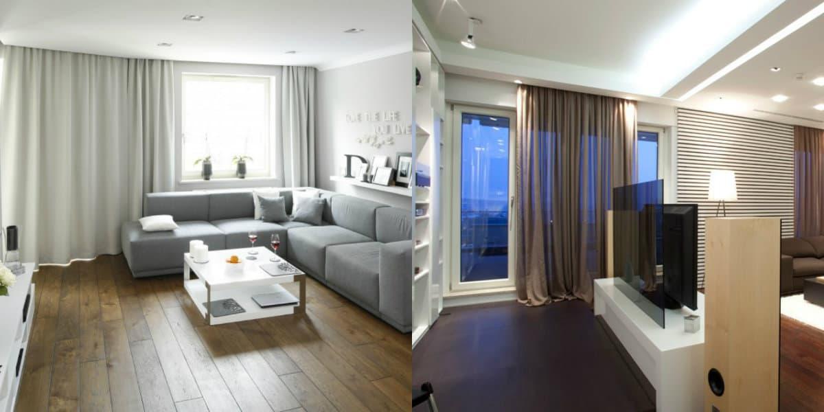 Дизайн квартиры в стиле Минимализм : шторы