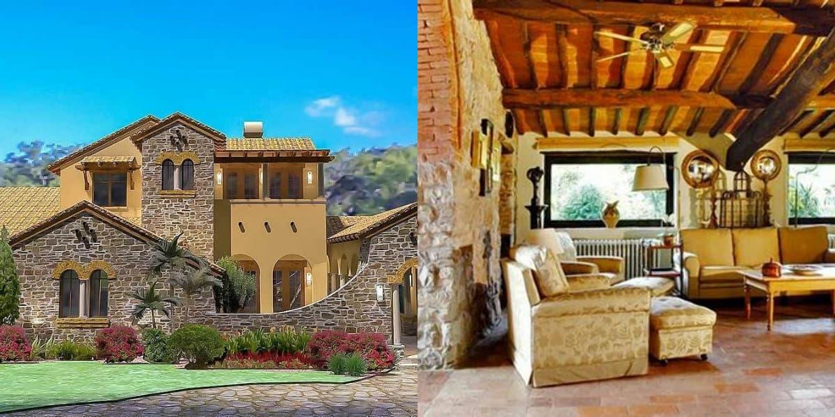 Дом в итальянском стиле: балочный потолок