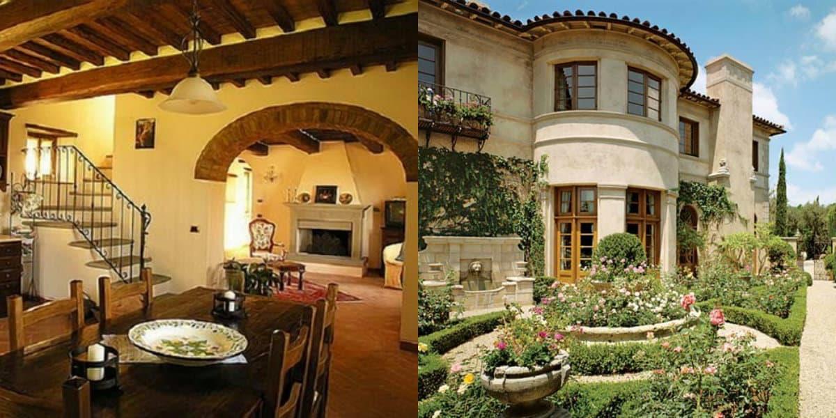 Дом в итальянском стиле: дерево в интерьере