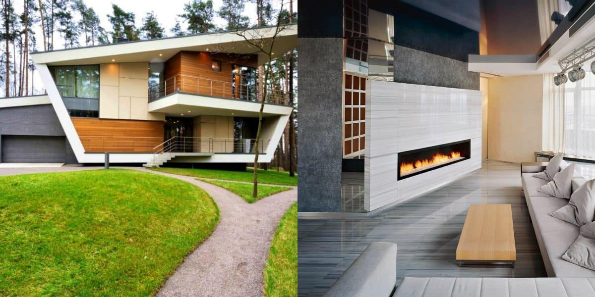Дом в стиле хай тек: камин
