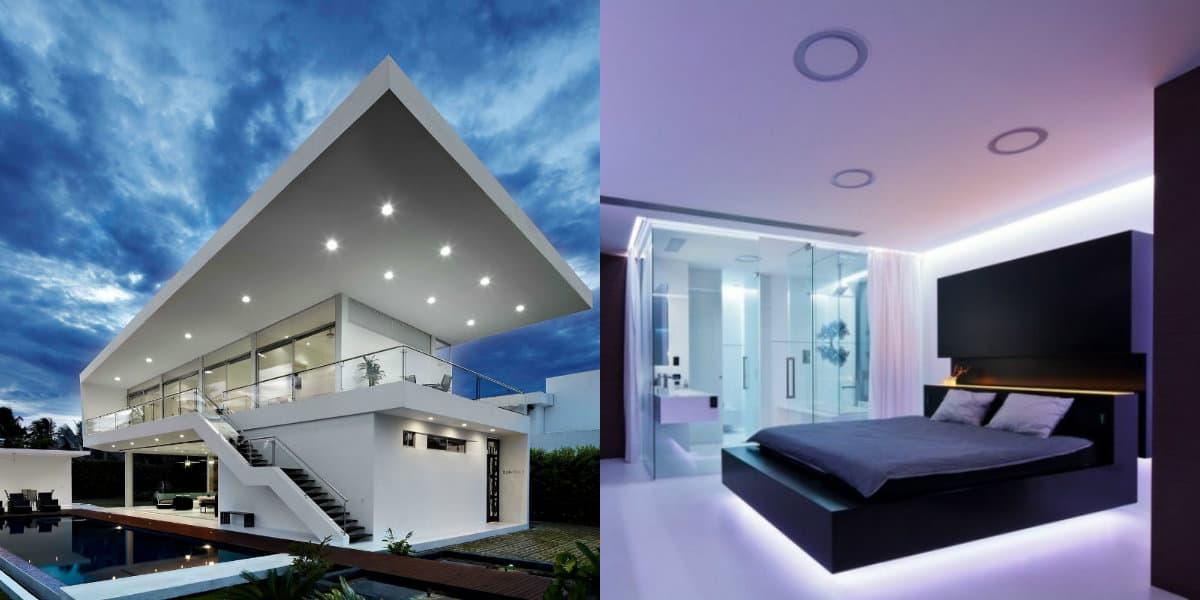 Дом в стиле хай тек: спальня