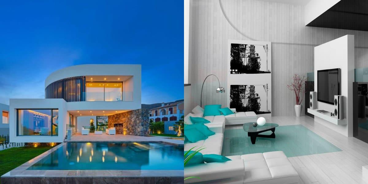 Дом в стиле хай тек: гостиная