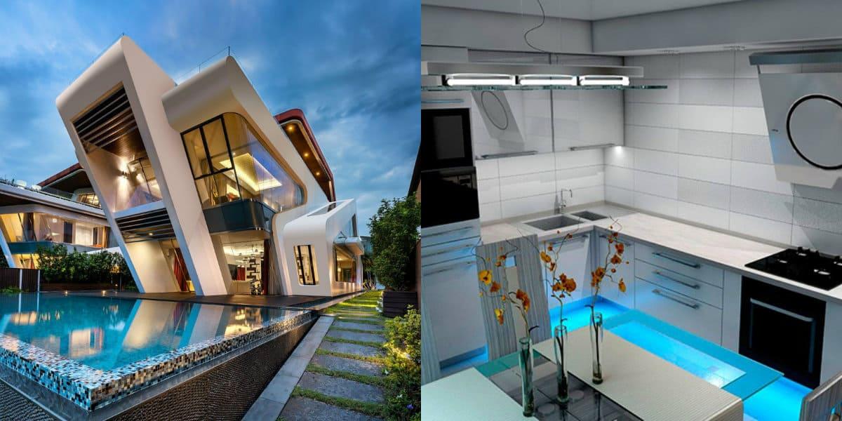 Дом в стиле хай тек: необычный фасад