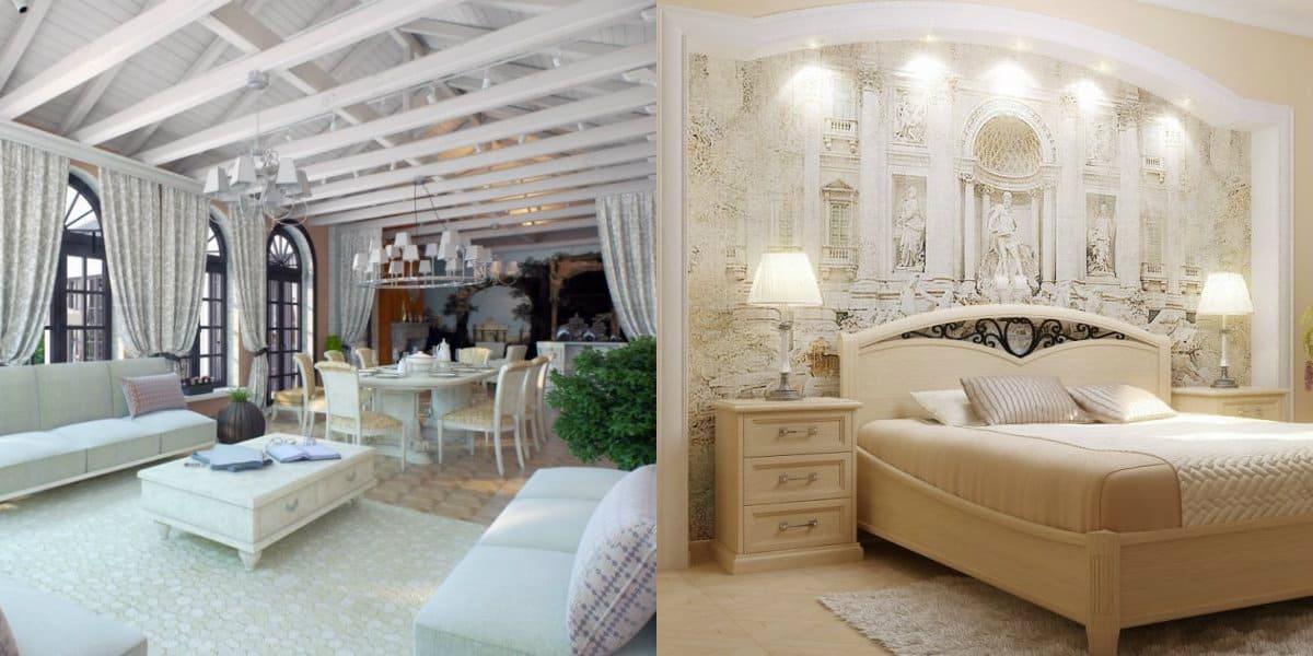 Интерьер в итальянском стиле : античная спальня