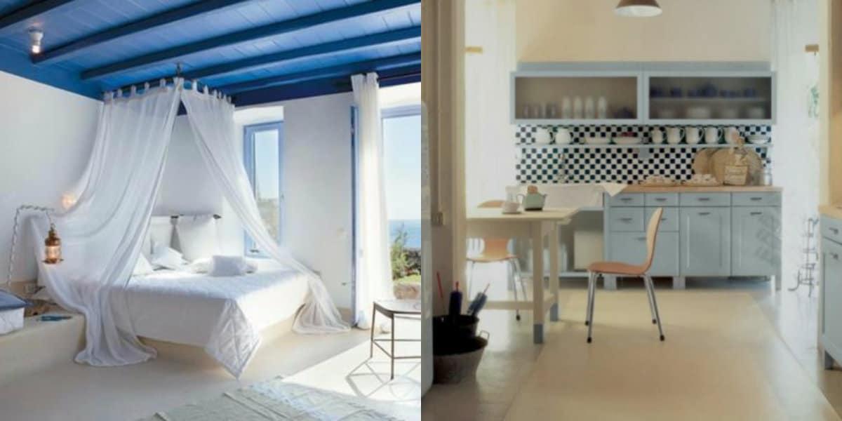 Итальянский стиль в интерьер: бело-голубая гамма