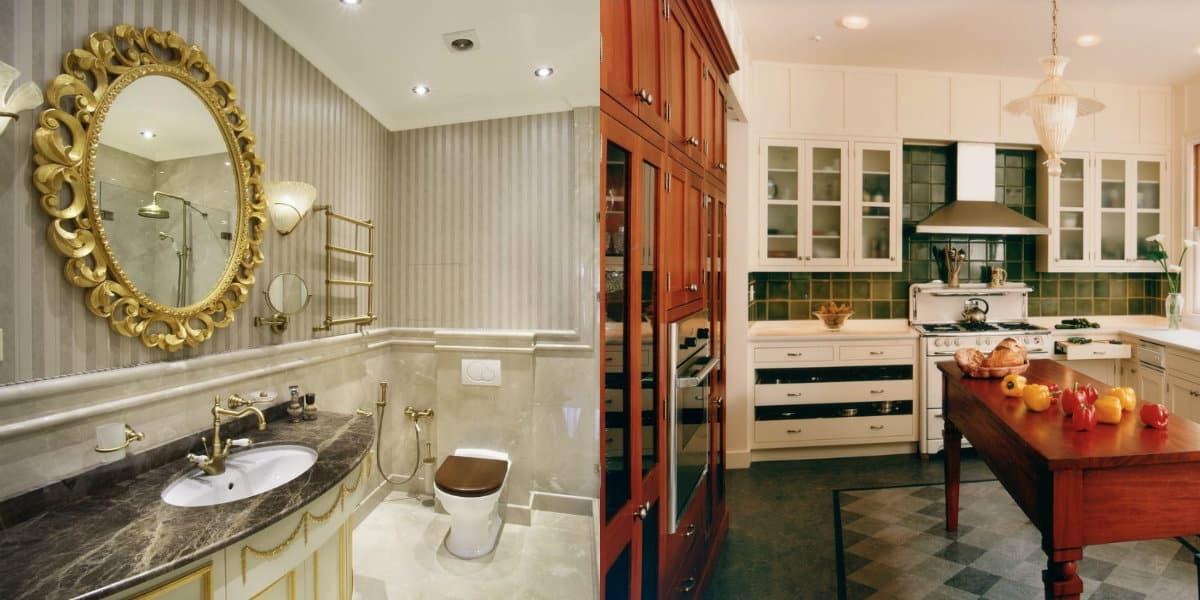 Квартира в английском стиле: ванная и кухня