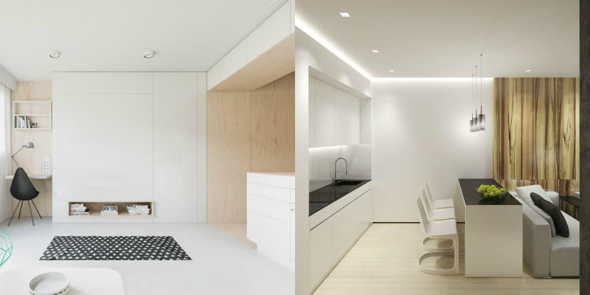Квартира в стиле Минимализм: белая мебель