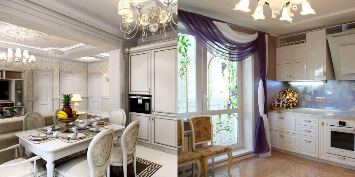 кухня в стиле неоклассика: шторы