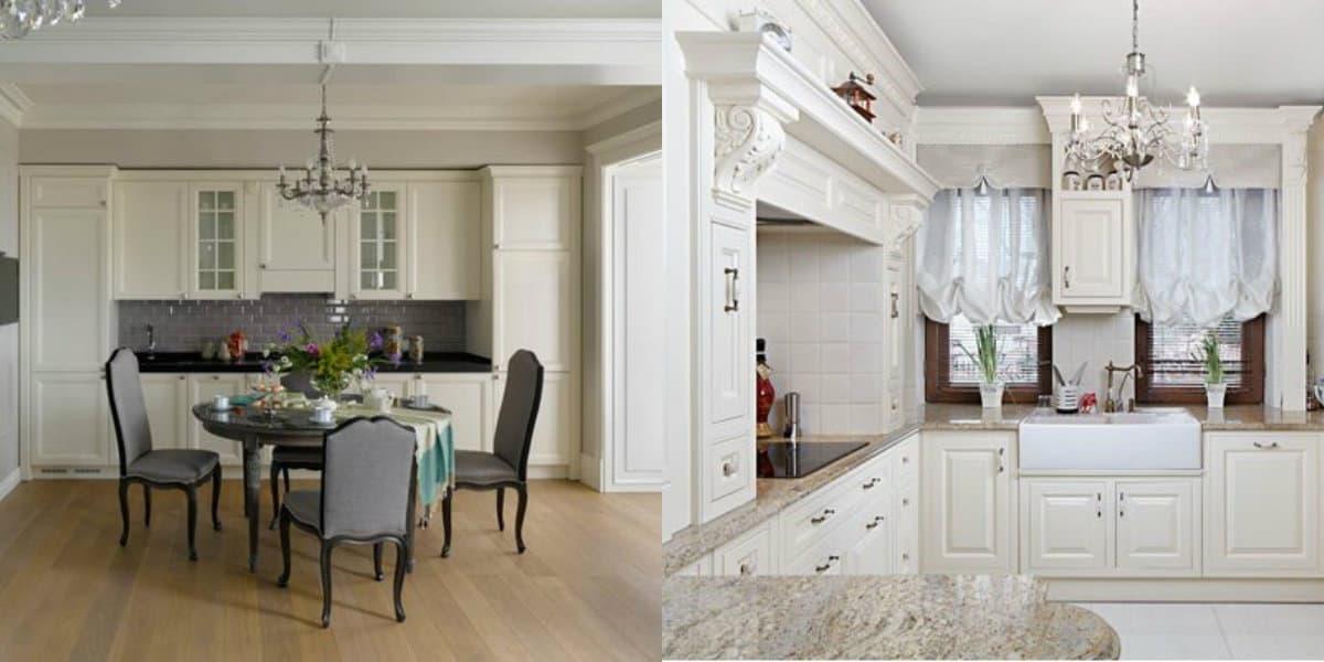кухня в стиле неоклассика: белый интерьер