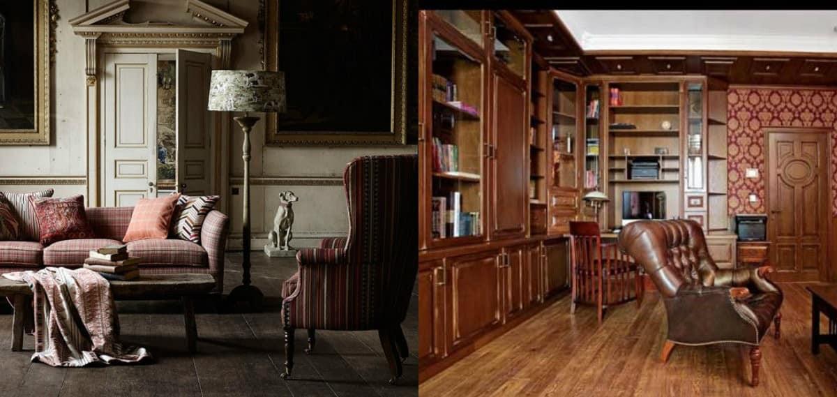 Мебель в английском стиле: клетчатая обивка