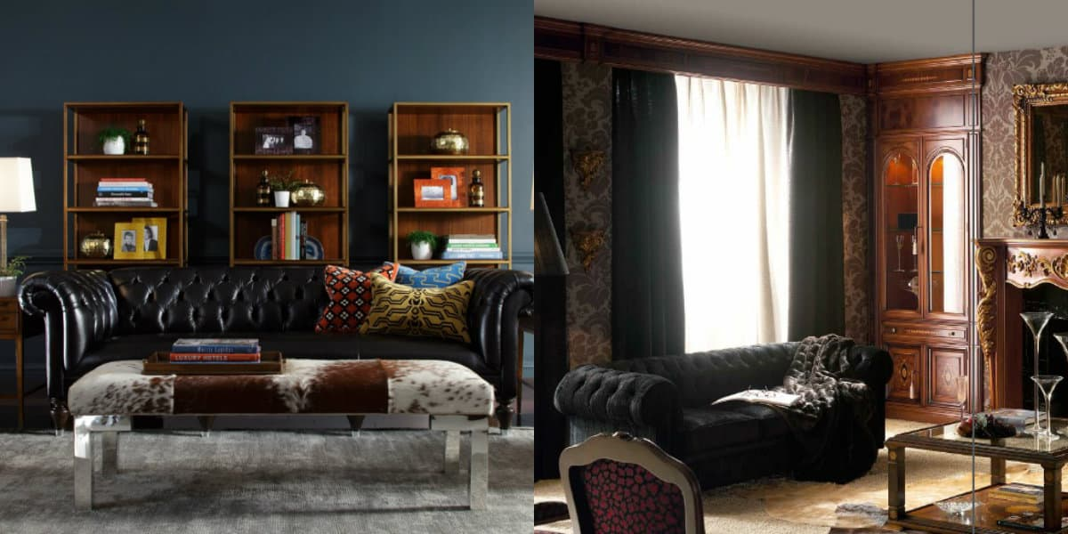 Мебель в английском стиле: кожаный диван