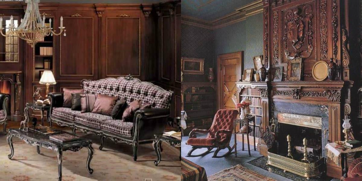 Мебель в английском стиле: диван с клетчатой обивкой