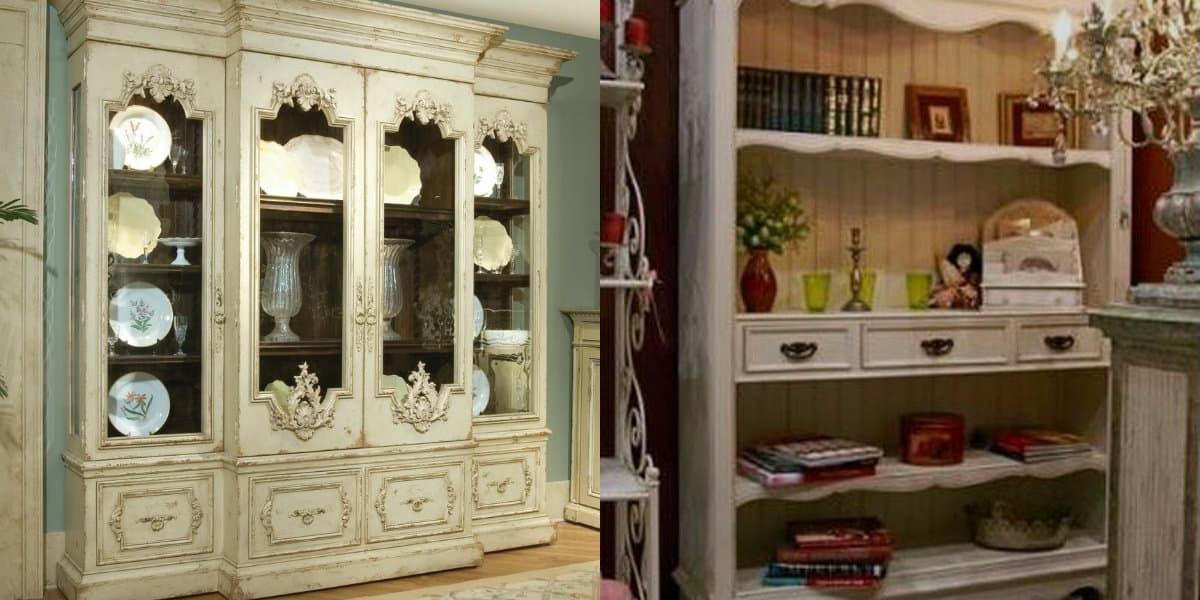 Мебель в стиле Прованс: винтажный шкаф-витрина
