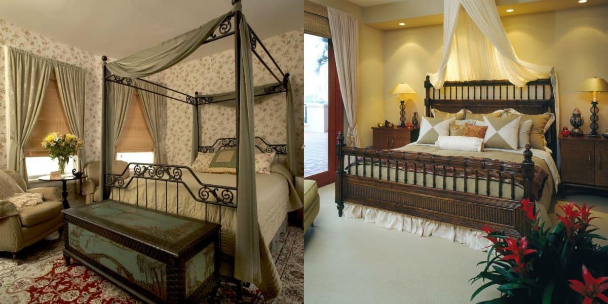 Спальня в английском стиле: балдахин