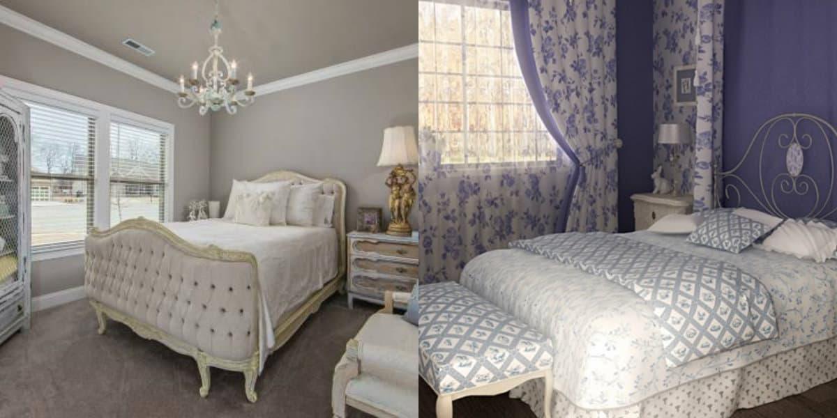 Спальня в английском стиле : светлый интерьер