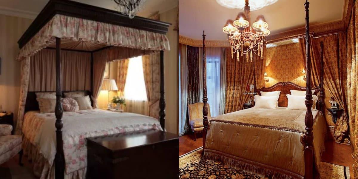 Спальня в английском стиле : оформление кровати