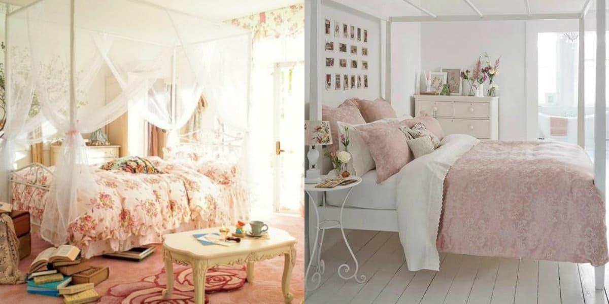 Спальня в английском стиле : цветастое покрывало