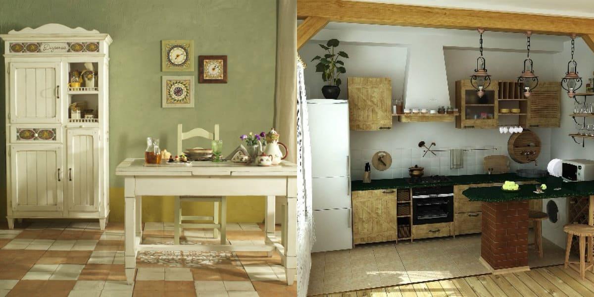 Стиль Кантри в интерьере; белая мебель