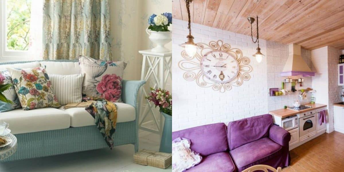 Стиль Прованс в интерьере: диван