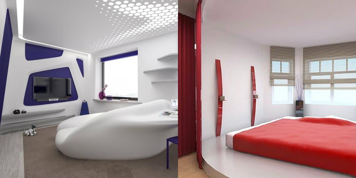 Стиль хай тек в интерьере : спальня