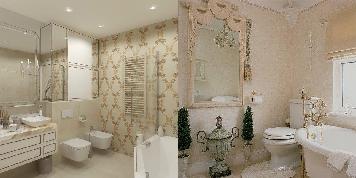 ванная в стиле неоклассика: зеркало