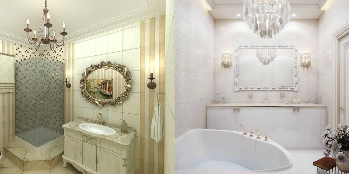ванная в стиле неоклассика: душевая кабина
