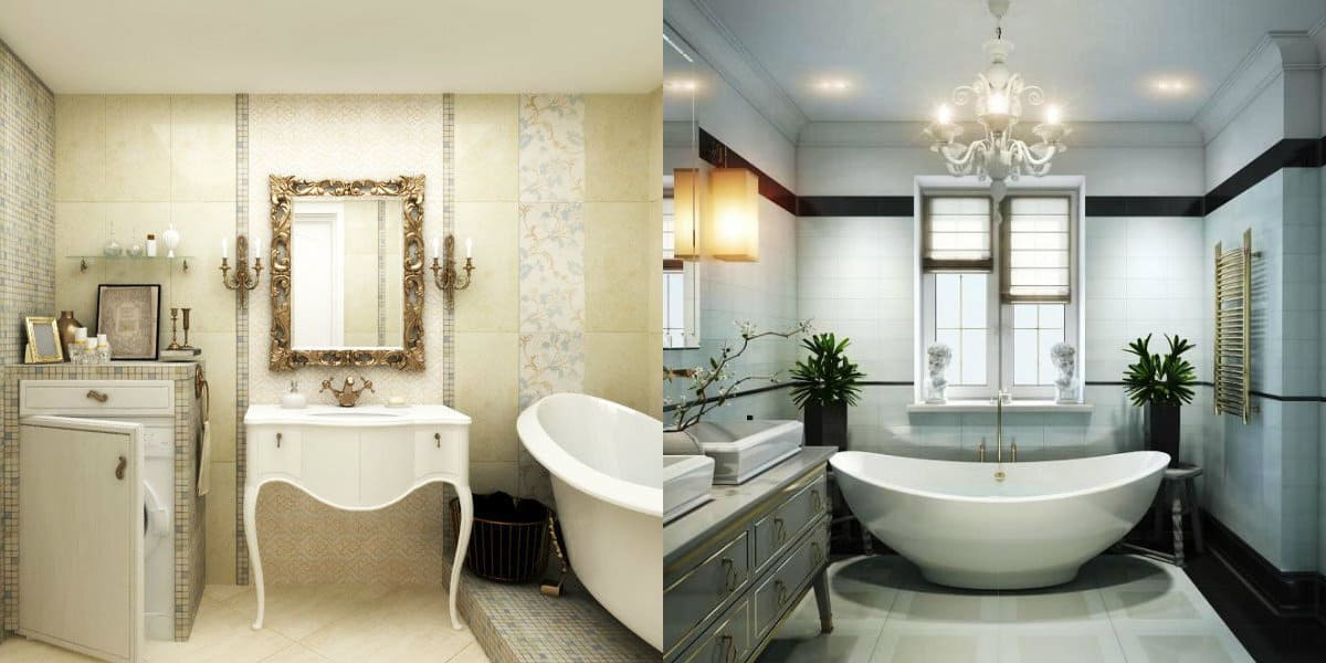 ванная в стиле неоклассика: отделка стен