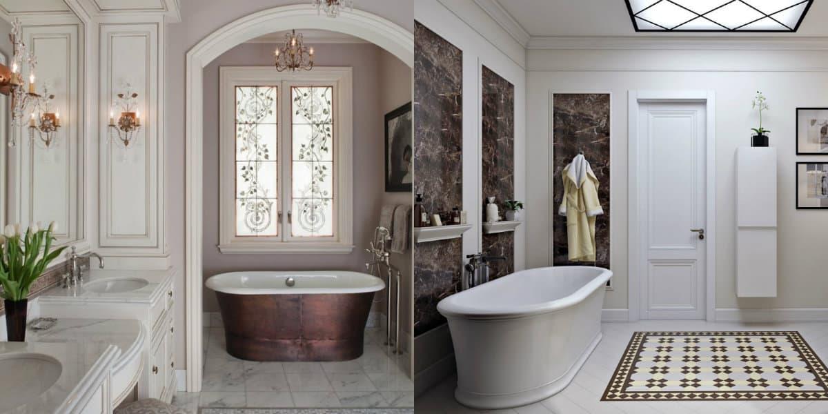 ванная в стиле неоклассика: оформление окна