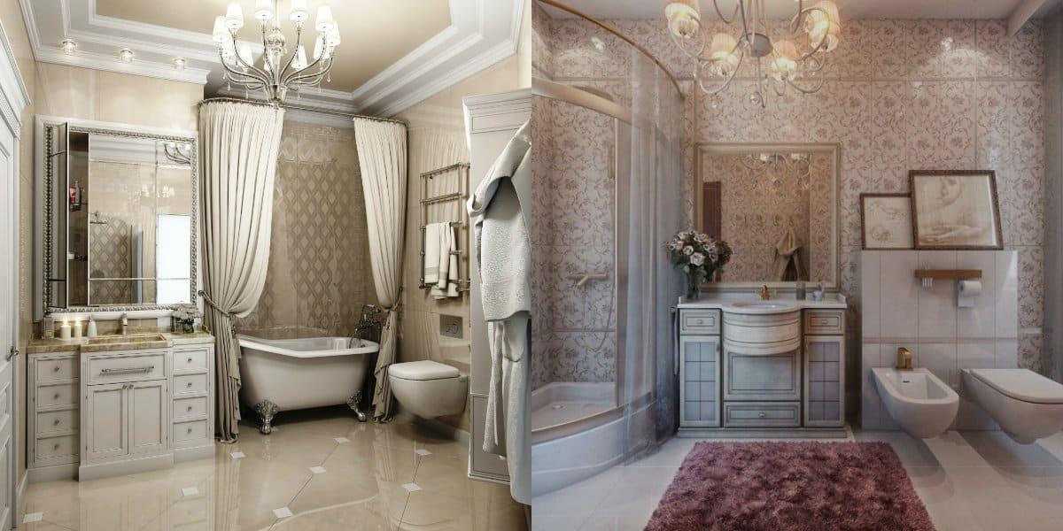 ванная в стиле неоклассика: текстиль