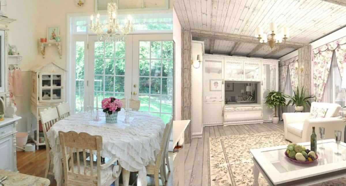гостиная в стиле Прованс: потолок