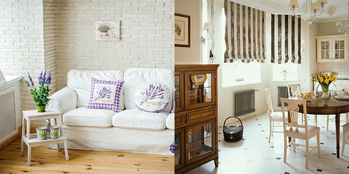 гостиная в стиле Прованс: римские шторы