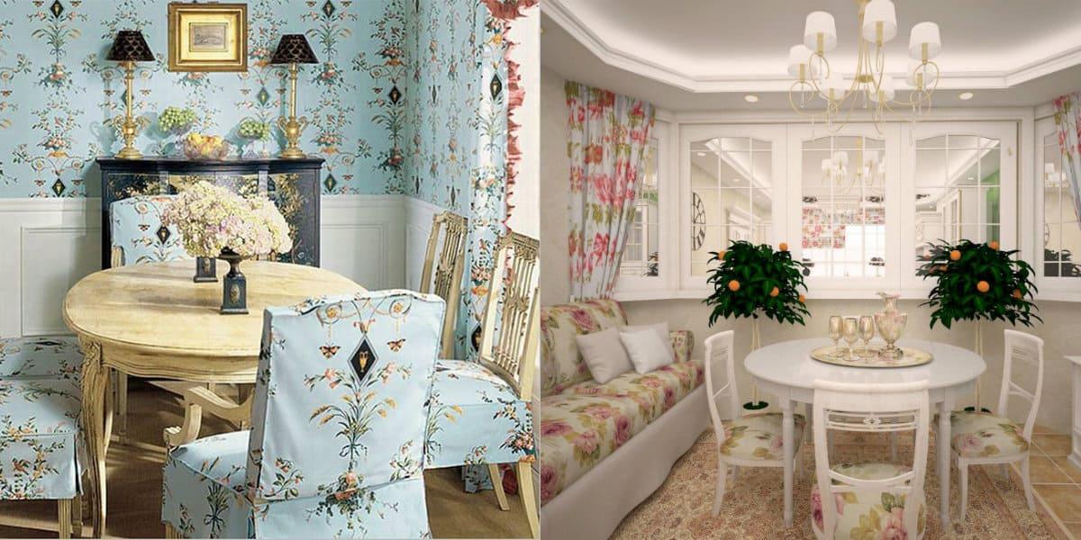 гостиная в стиле Прованс: цветочный рисунок