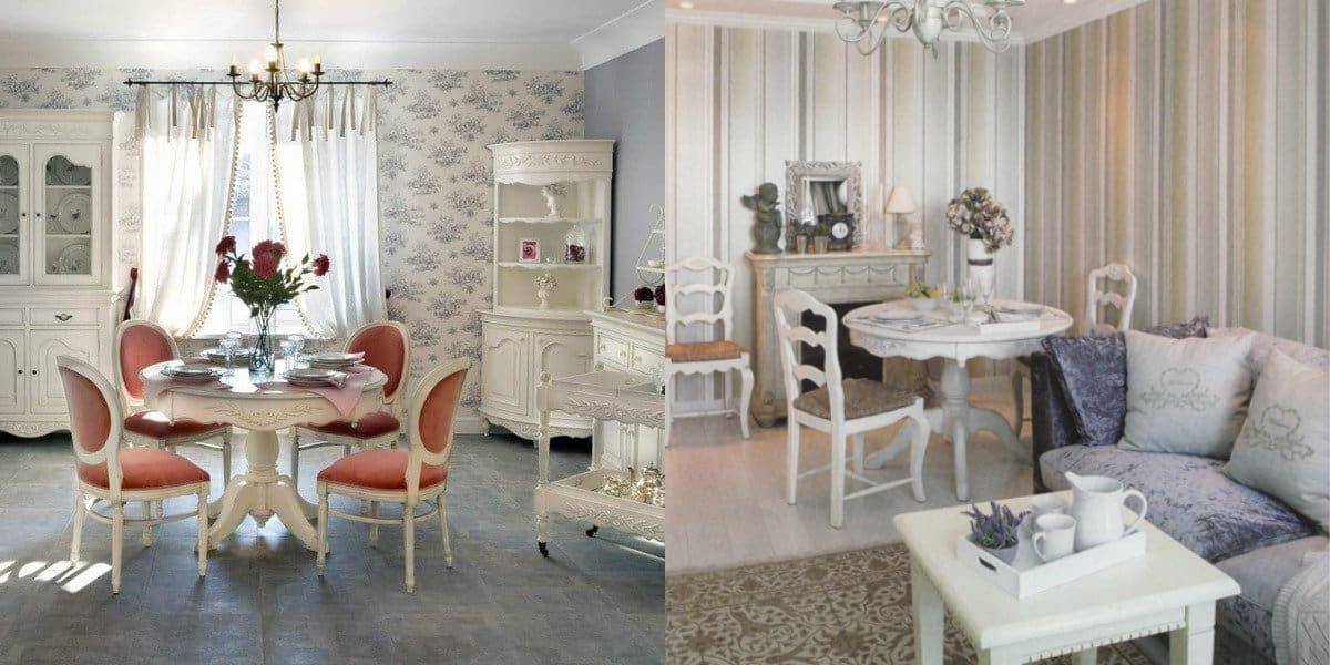 гостиная в стиле Прованс: обои