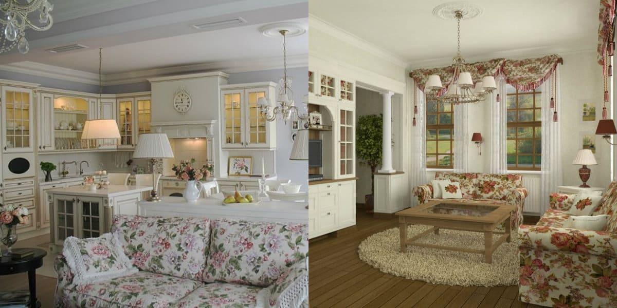 гостиная в стиле Прованс: мебель