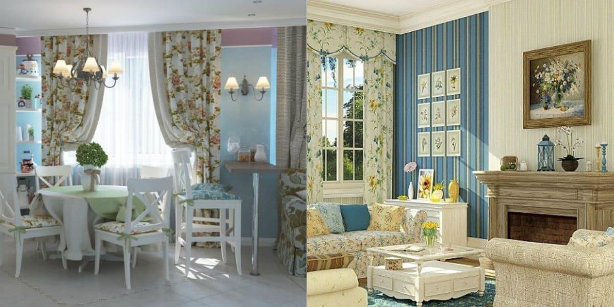 гостиная в стиле Прованс: текстиль