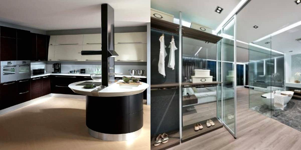 Дизайн квартиры в стиле хай тек: кухня