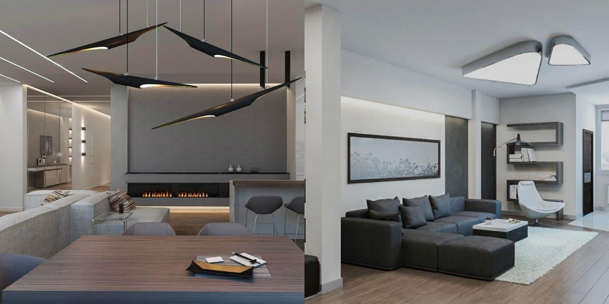 Дизайн квартиры в стиле хай тек: светильники
