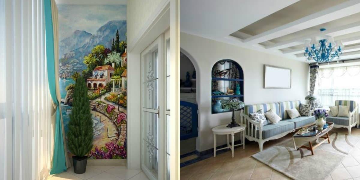 Интерьер в итальянском стиле : фрески