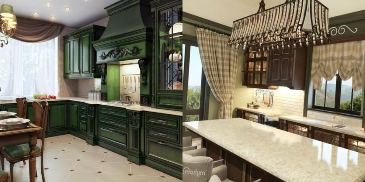 кухни в английском стиле: шторы