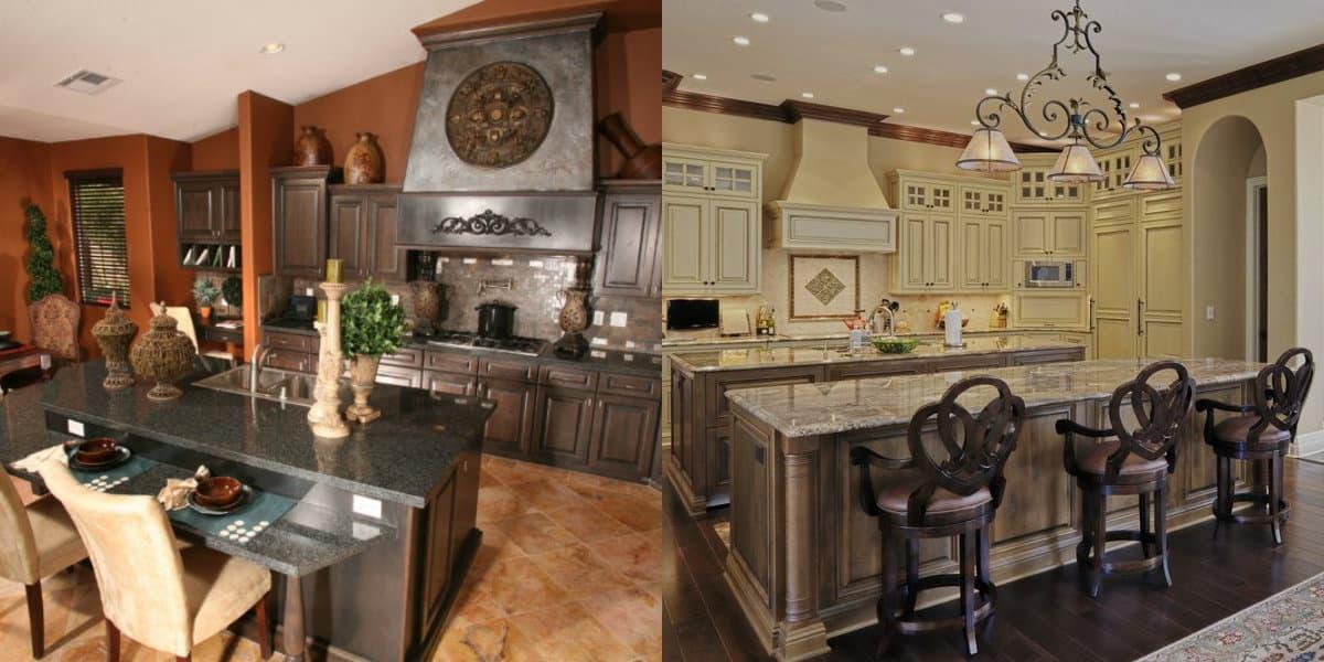 кухни в английском стиле: массивная мебель