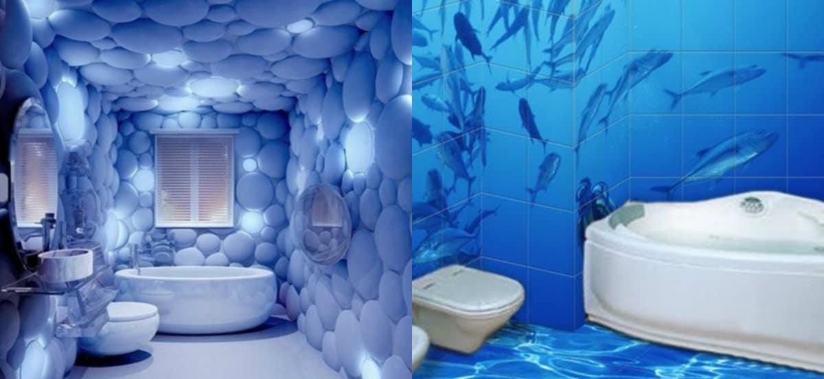 ванная комната 2019: голубая ванная