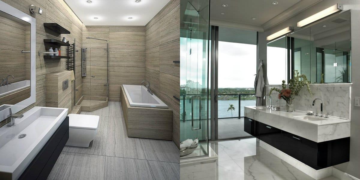 ванная комната 2019: отделка камнем