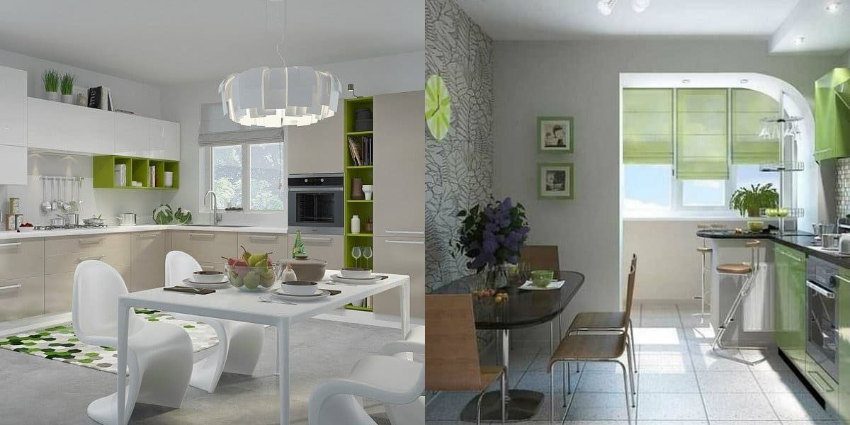 дизайн кухни 2019 : зеленая кухня