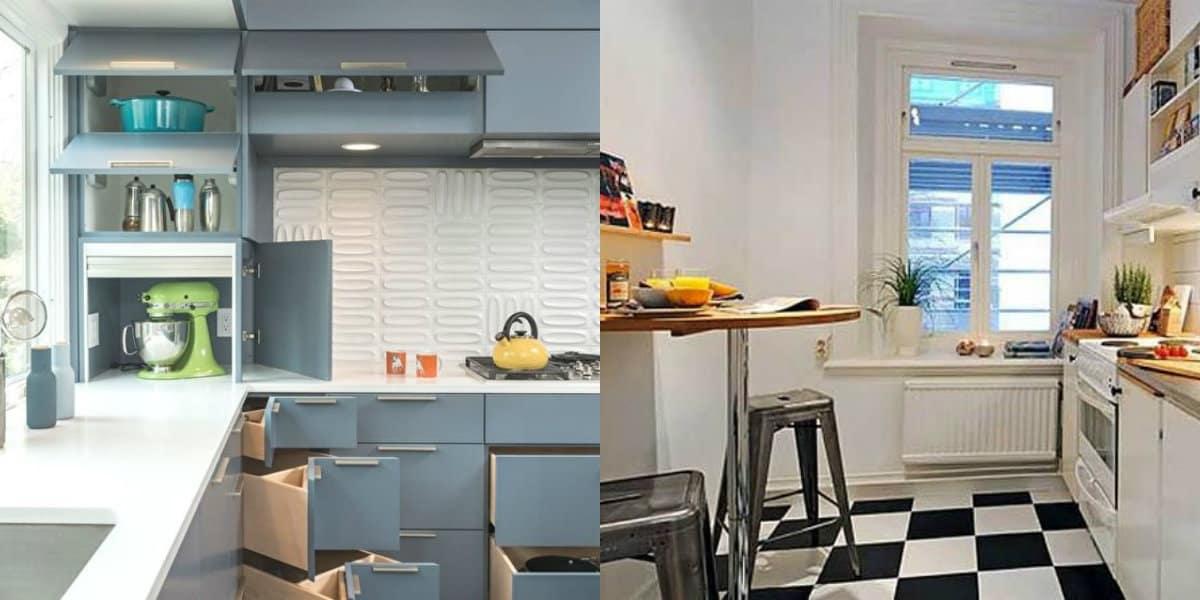 Дизайн маленькой кухни 2019: фартук