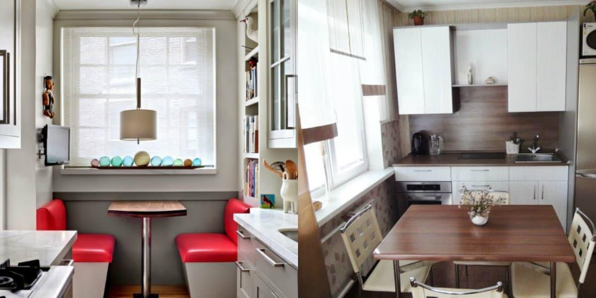 Дизайн маленькой кухни 2019: стол-подоконник