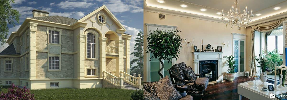 Дом в стиле Неоклассика: камин