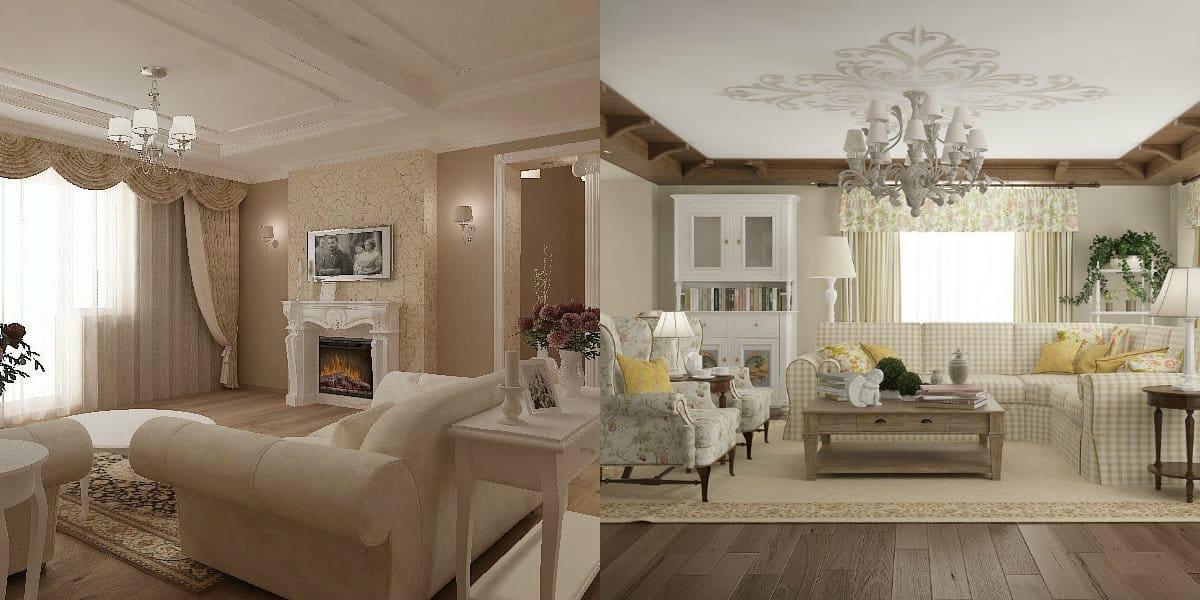 Гостиная в стиле Неоклассика: декор потолка
