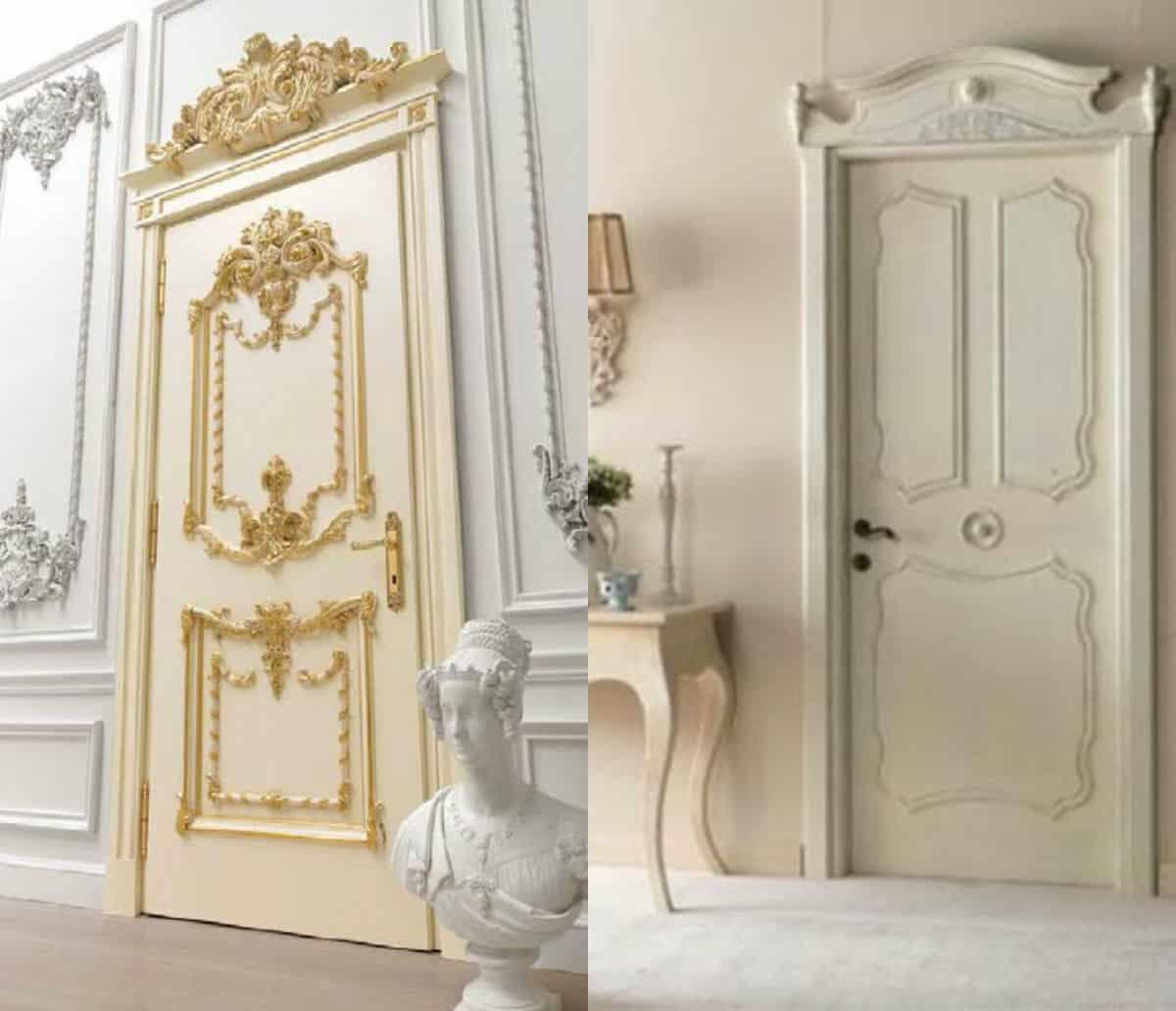 двери в стиле Неоклассика: позолота и лепнина